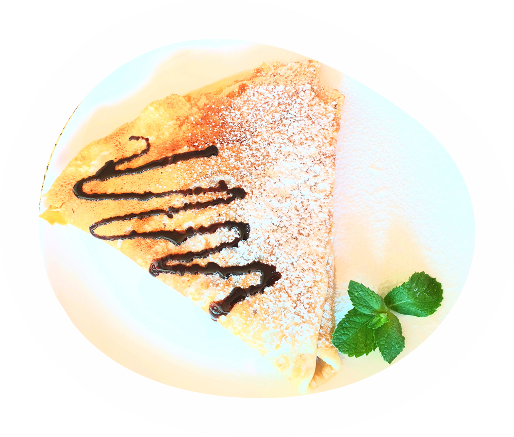 Pancake with filling: boiled condensed milk